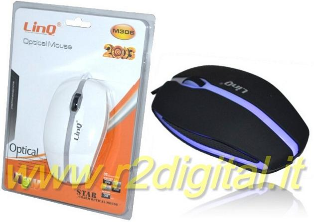 MOUSE OTTICO LINQ USB M306 USB LED 1200DPI GAMING di PRECISIONE